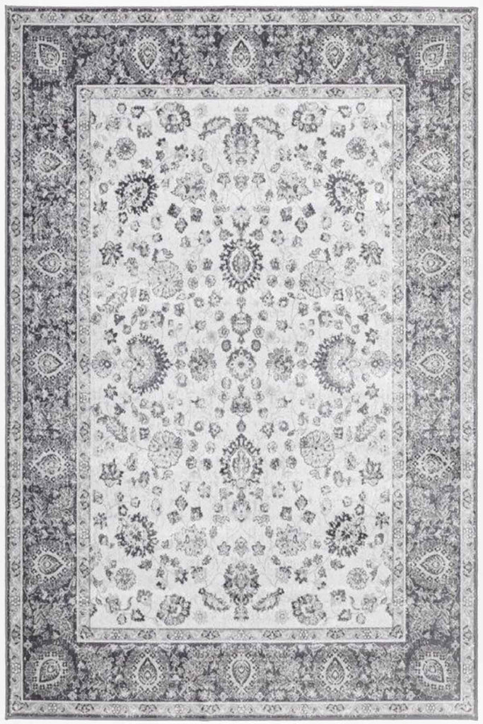 Hythe Oriental Floral Design Grey Traditional Rug