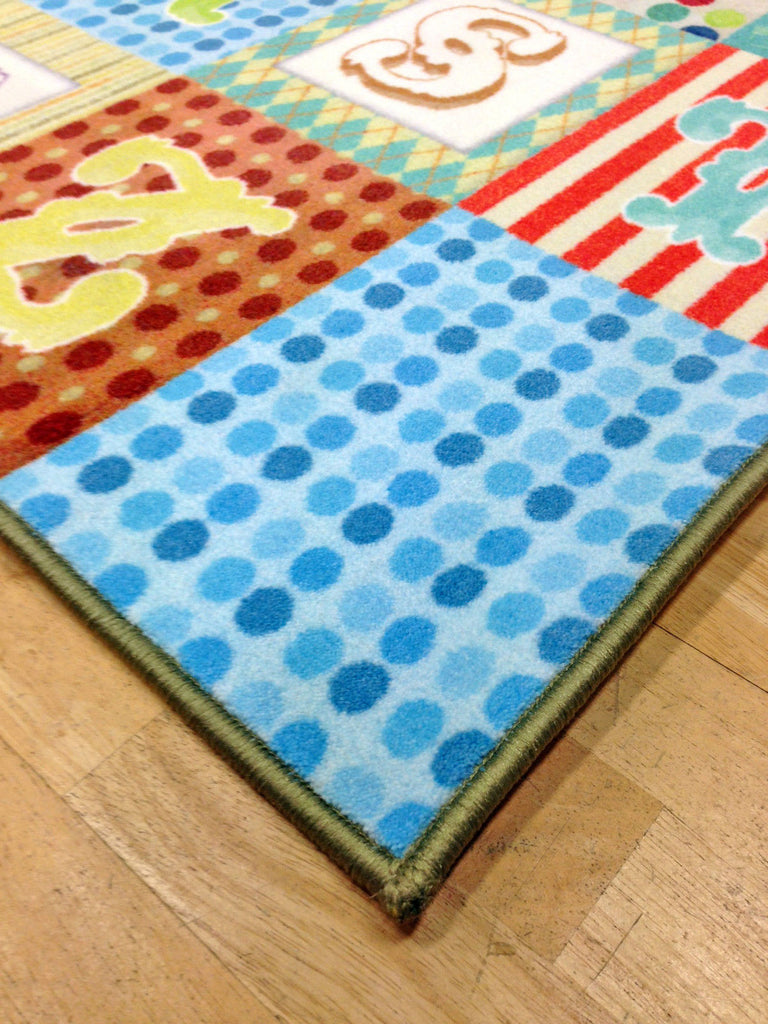 Whizz Kids Vintage Alphabet Letter Fun Floor Rug 80X120Cm