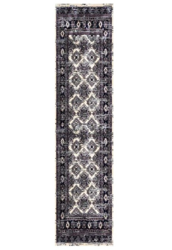 Deja Boho Cream Grey Distressed Oriental Runner Rug
