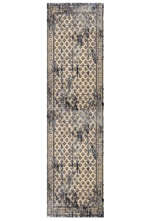 Deja Boho Beige Grey Distressed Oriental Runner Rug