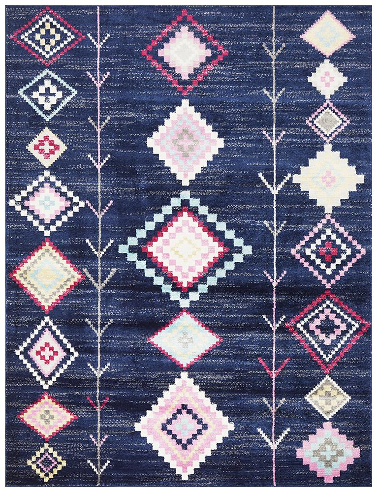 Pemba Tribal Design Navy Blue Rug