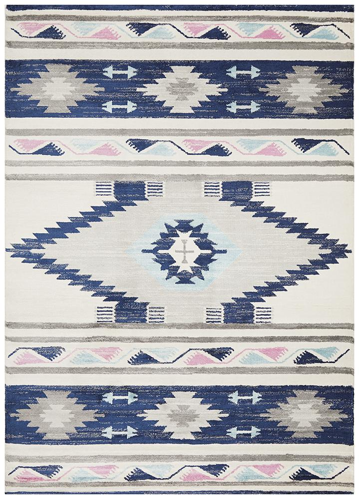 Pemba Moroccan Tribal Design Blue Rug