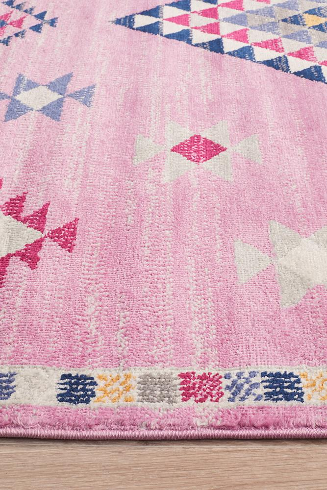 Pemba Tribal Diamond Design Pink Rug