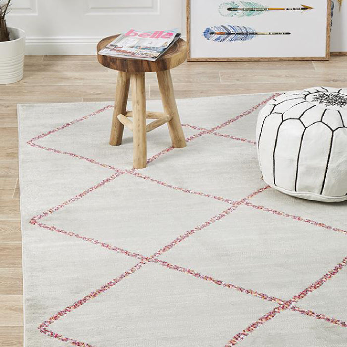 Pemba Tribal Diamond Ivory Silver Rug