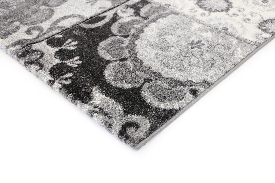 Valencia Patchwork Textured Grey Rug