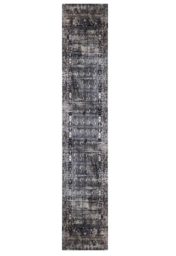 Deja Boho Grey Distressed Oriental Floor Runner Rug