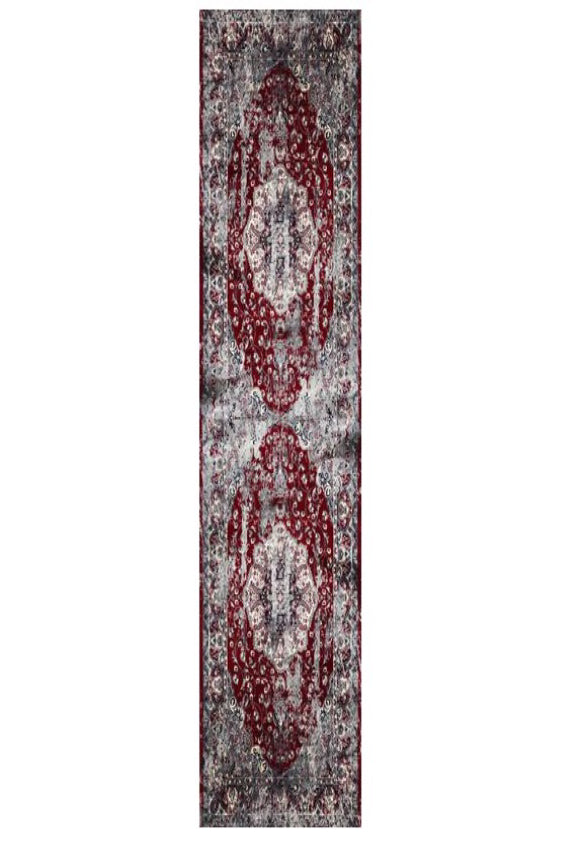 Deja Boho Red Distressed Medallion Oriental Runner Rug