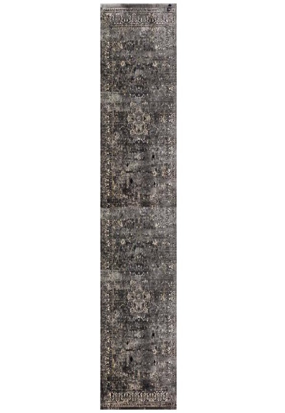 Deja Boho Grey Navy Distressed Star Oriental Runner Rug