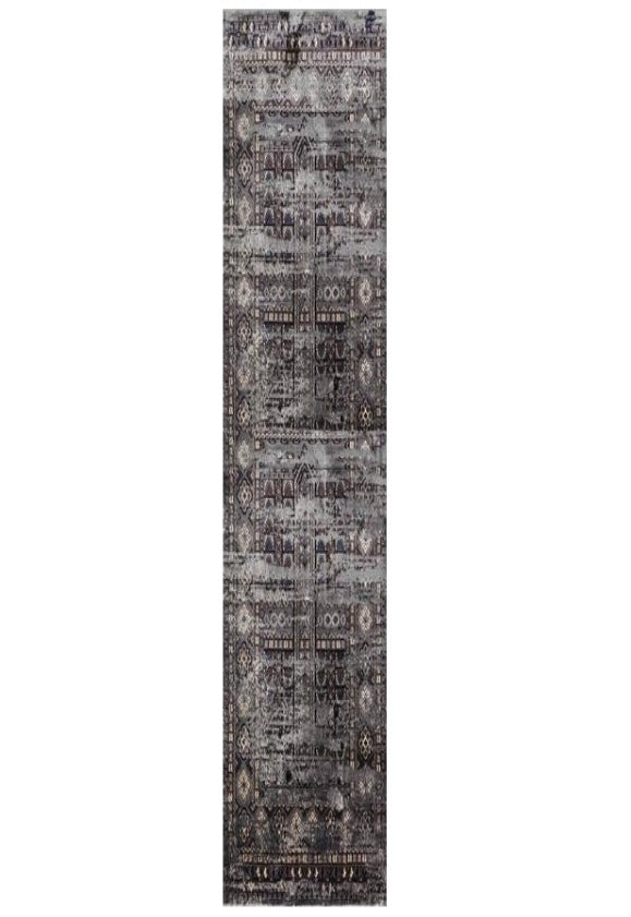 Deja Boho Dark Grey Distressed Oriental Runner Rug