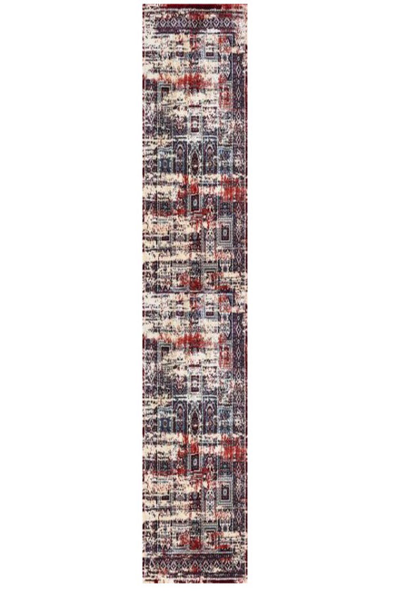 Deja Boho Red Beige Distressed Oriental Runner  Rug