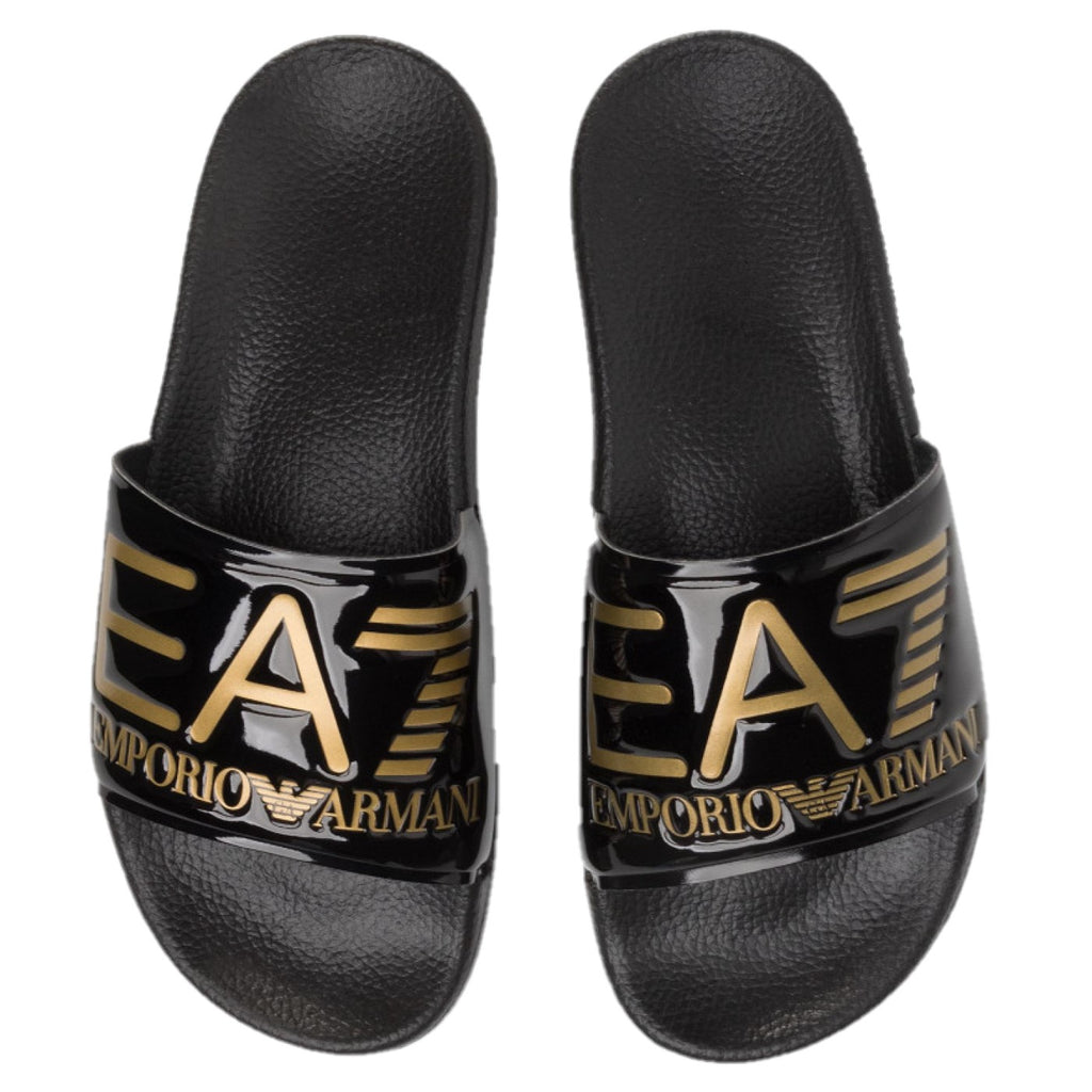 EA7 Shiney Black & Gold Slippers XCP001 XCC22 M631