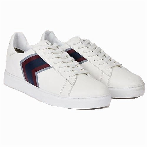 Armani Exchange Textured Chevron Low Top Sneakers XUX001-XV001 White