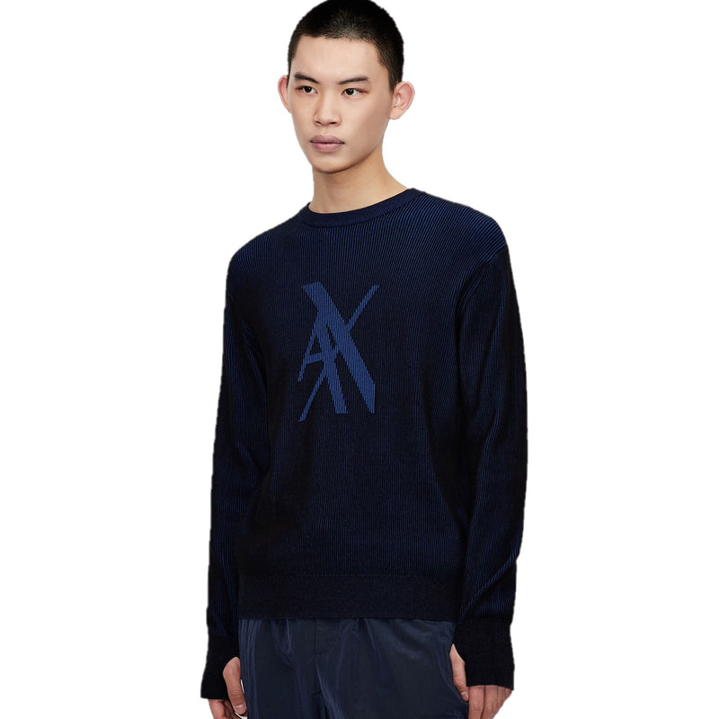 Armani Exchange Crew Neck Knit 3KZM2Z ZMQ7Z 2200 Black Blue