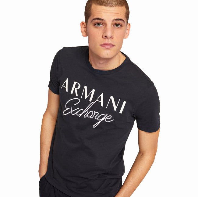 Armani Exchange Embroidered Script T-Shirt 6ZZTDS-ZJH4Z Navy