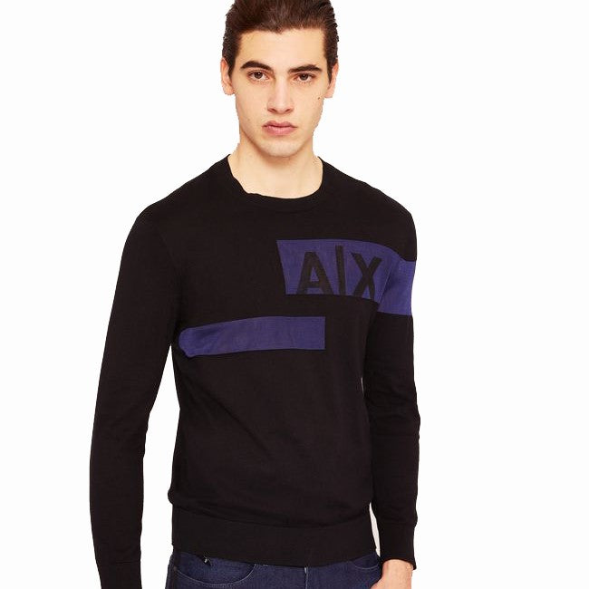 Armani Exchange Sliced Logo Band Sweater 6ZZM1Q-ZME3Z Black