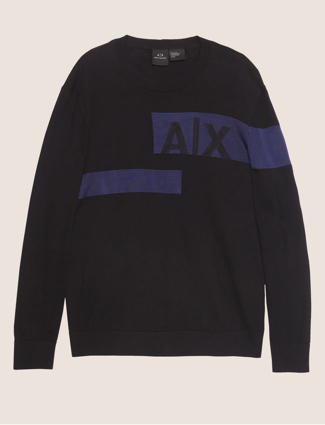 Armani Exchange Sliced Logo Band Sweater