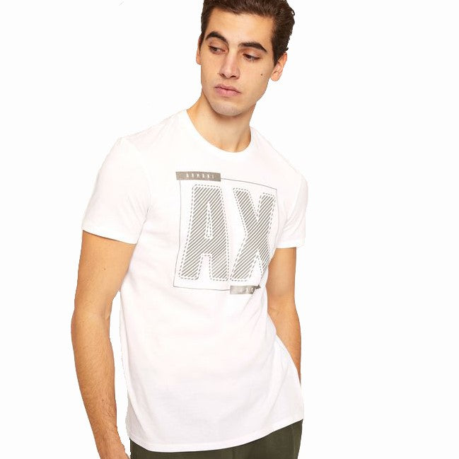 Armani Exchange Metallic Diagonal T-Shirt 6ZZTBC-ZJV4Z White