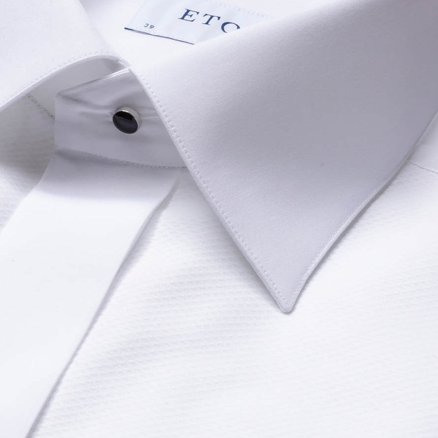 Eton White Piqué Black Tie Contemporary Fit Shirt - Ignition For Men