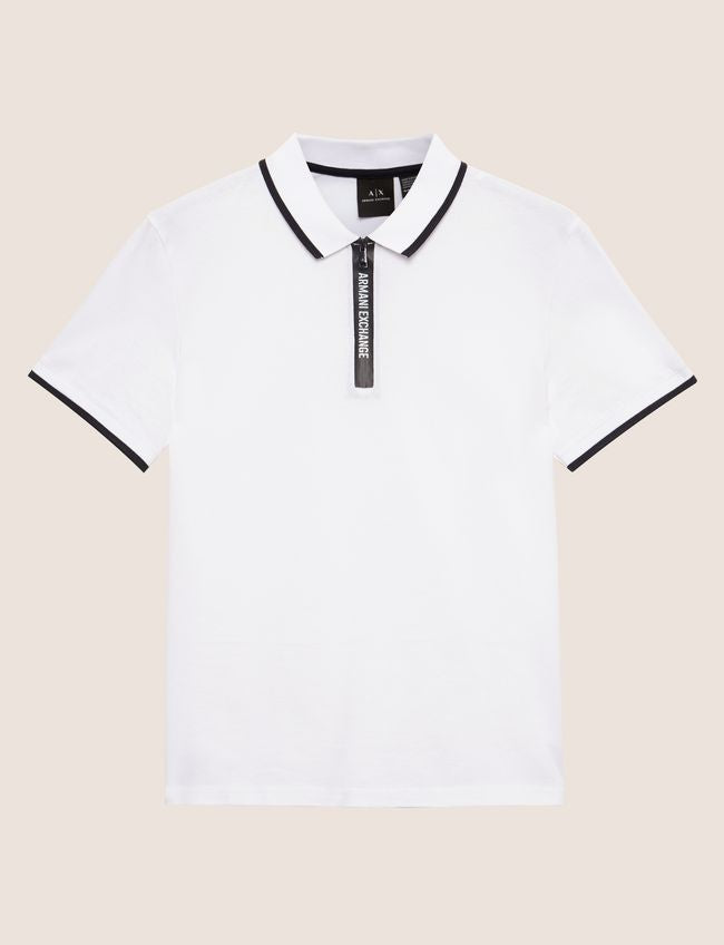 Armani Exchange Tape Quarter Zip Polo 6ZZF91-ZJS5Z White