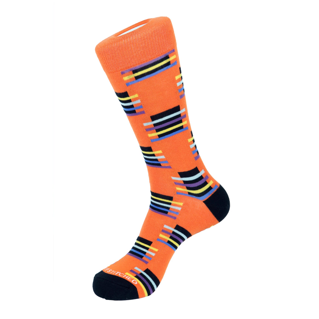 Unsimply Stitched Block Stripe Socks Orange Multi UNST-12004-2