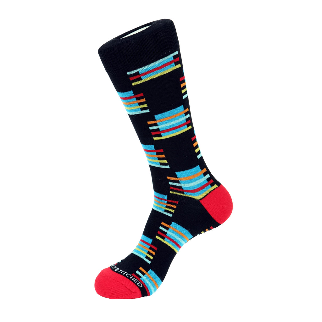 Unsimply Stitched Block Stripe Sock Blue Multi UNST-12004-1