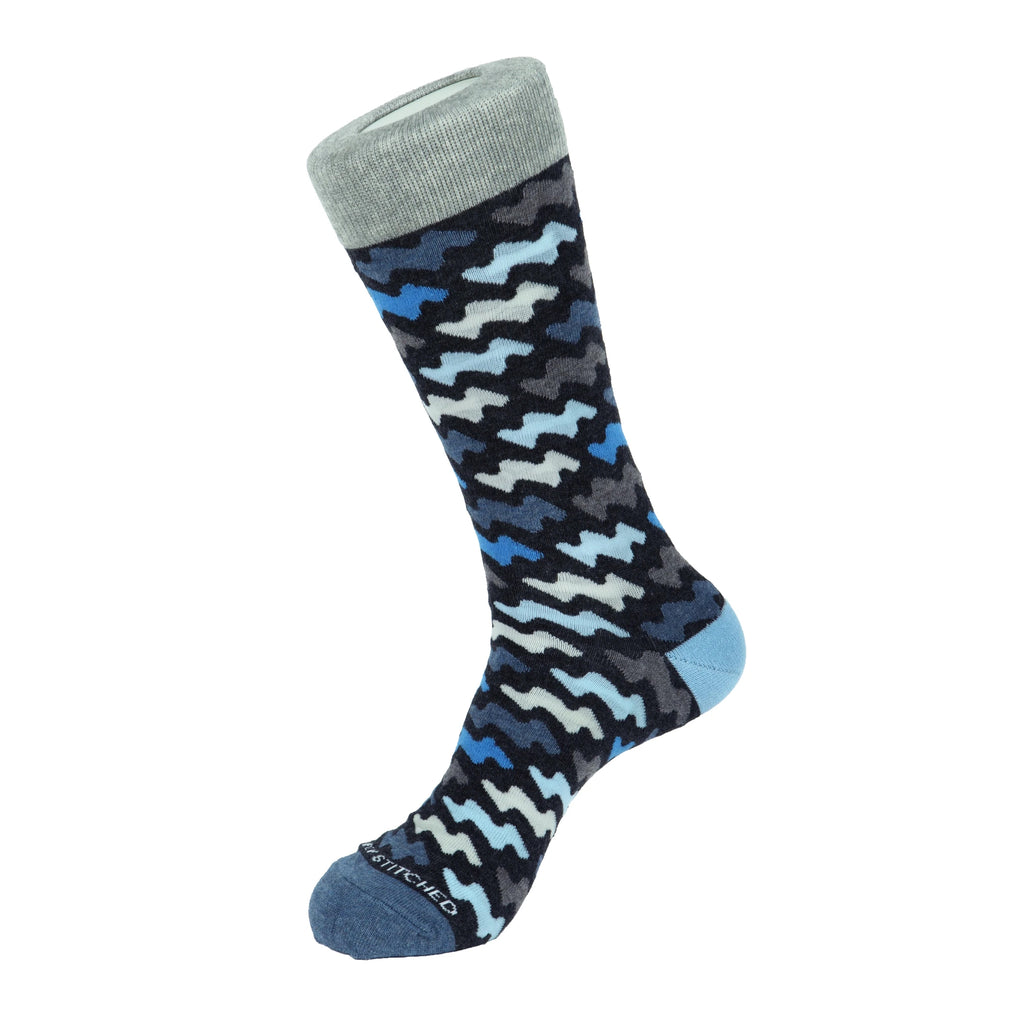 Unsimply Stitched Grey Comic Wave Socks UNST-12062-4