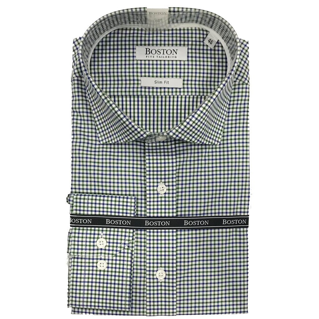 Boston Blue/Green/White check Shirt SC BS331-31