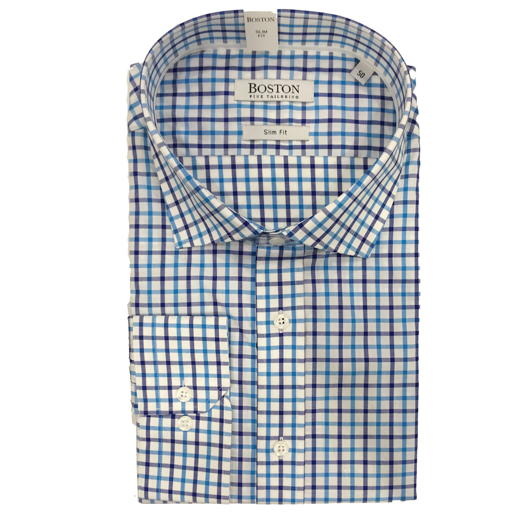 Boston Blue & White check Shirt SC BS337-12