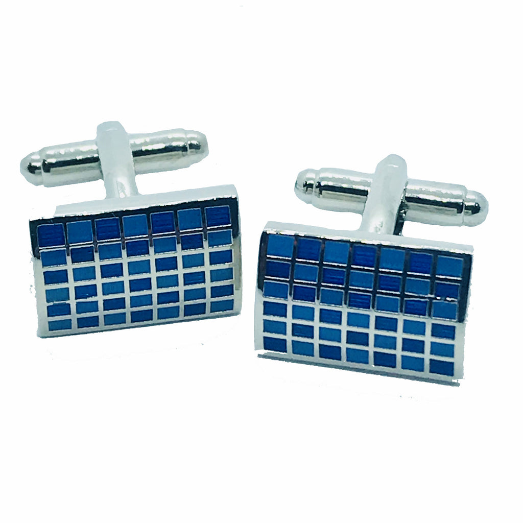 Blue Check Cufflinks - Ignition For Men