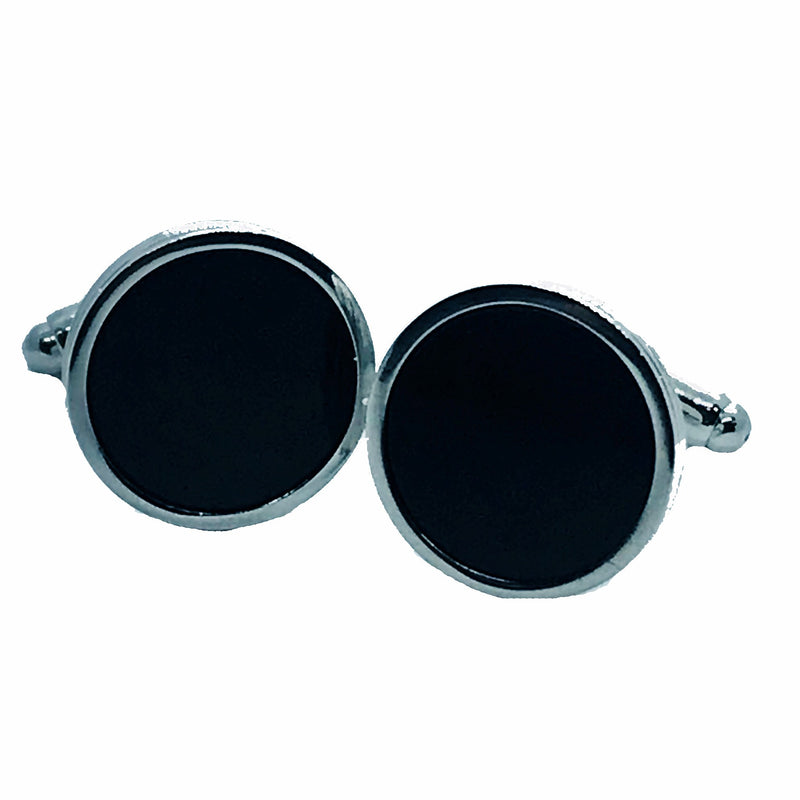 Black Circle Cufflinks - Ignition For Men