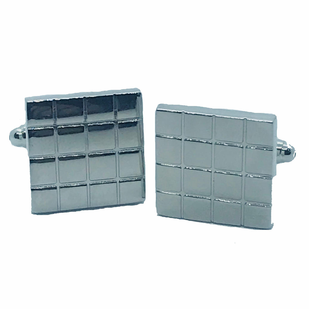 Silver Grid Cufflinks - Ignition For Men