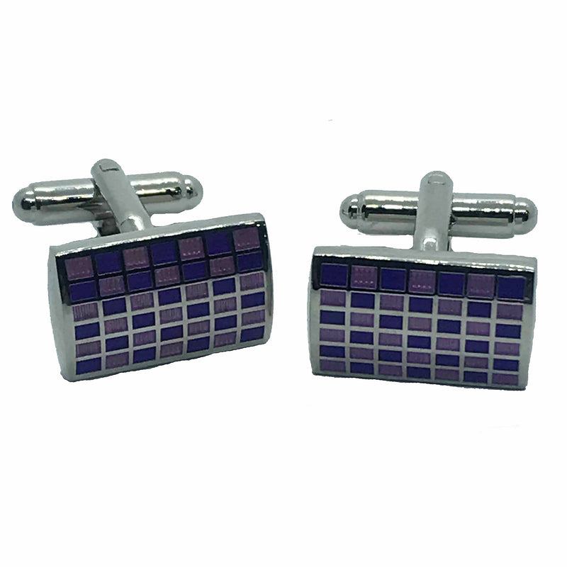 Purple Check Cufflinks - Ignition For Men