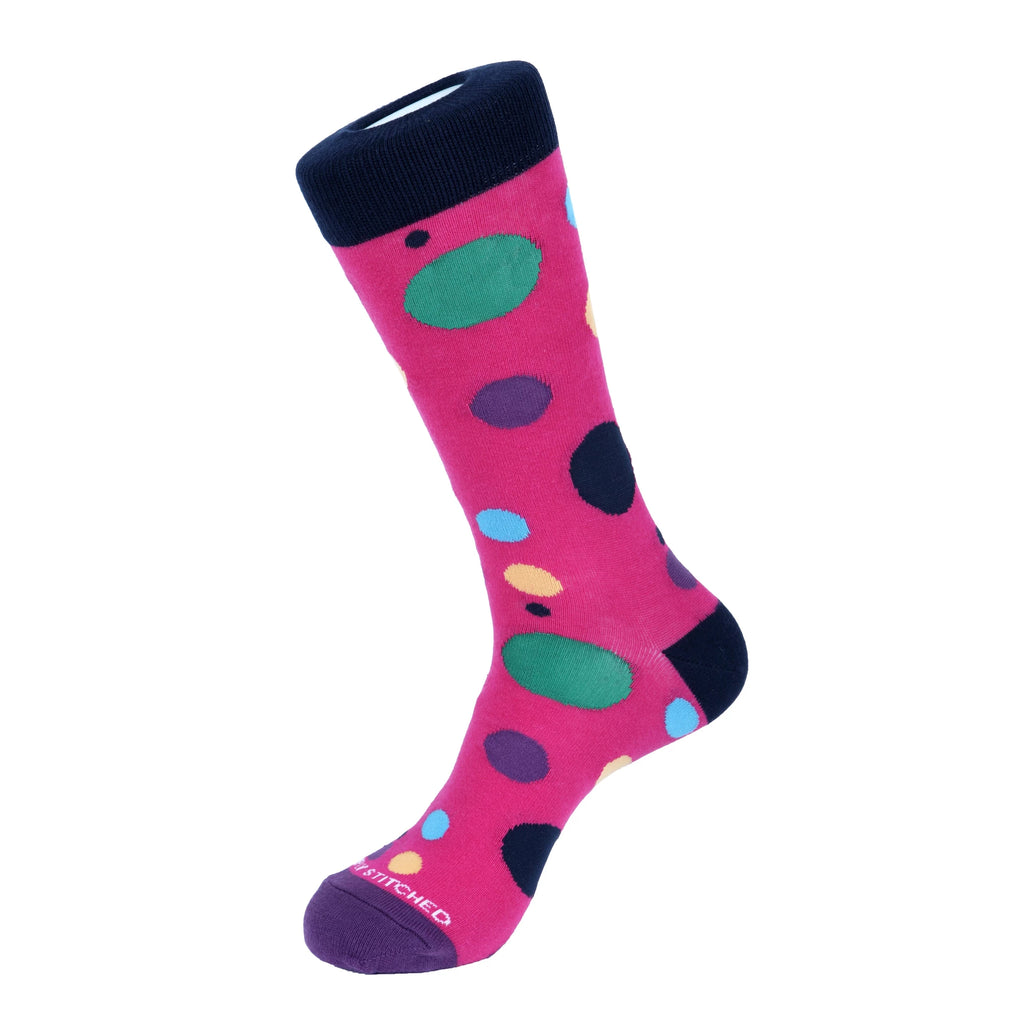 Unsimply Stitched Pink Multi Scatter Dot Socks UNST-12025-1