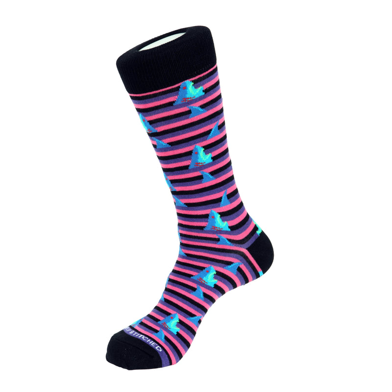 Unsimply Stitched Purple Multi Shark Attack Socks - Ignition For Men