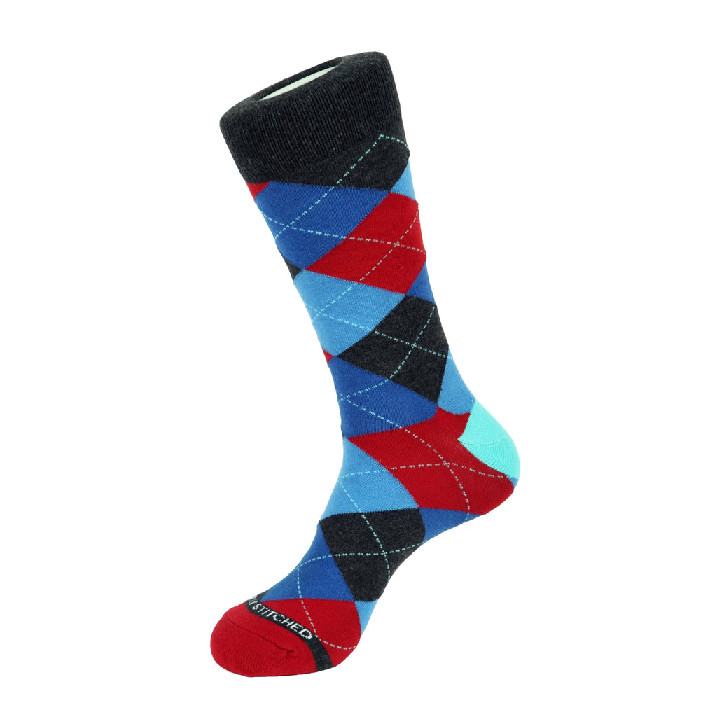 Unsimply Stitched Red Grey Blue Argyle Socks UNST-12138-5