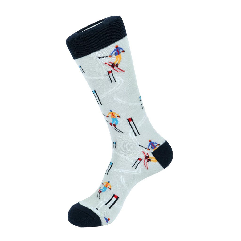 Unsimply Stitched Slalom Skiing Socks Light Grey Multi UNSTNV-1021-1