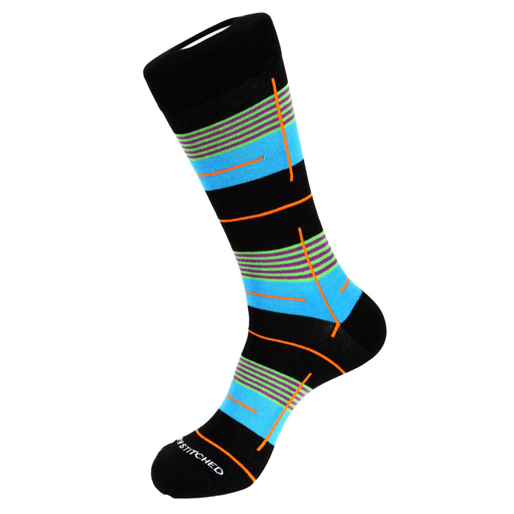 Unsimply Stitched Gate Stripe Socks Black Multi UNST-10010-2