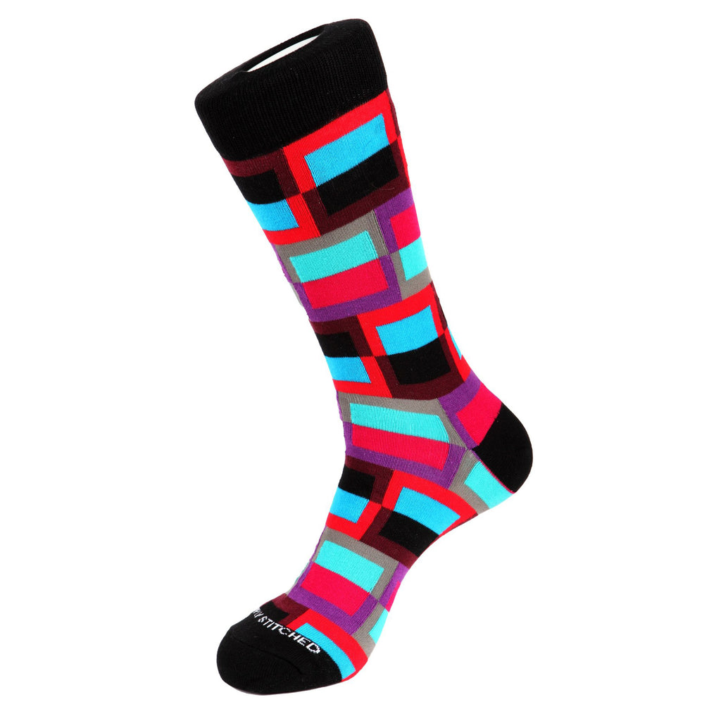 Unsimply Stitched Frame Socks Black / Fucia UNST-10013-2