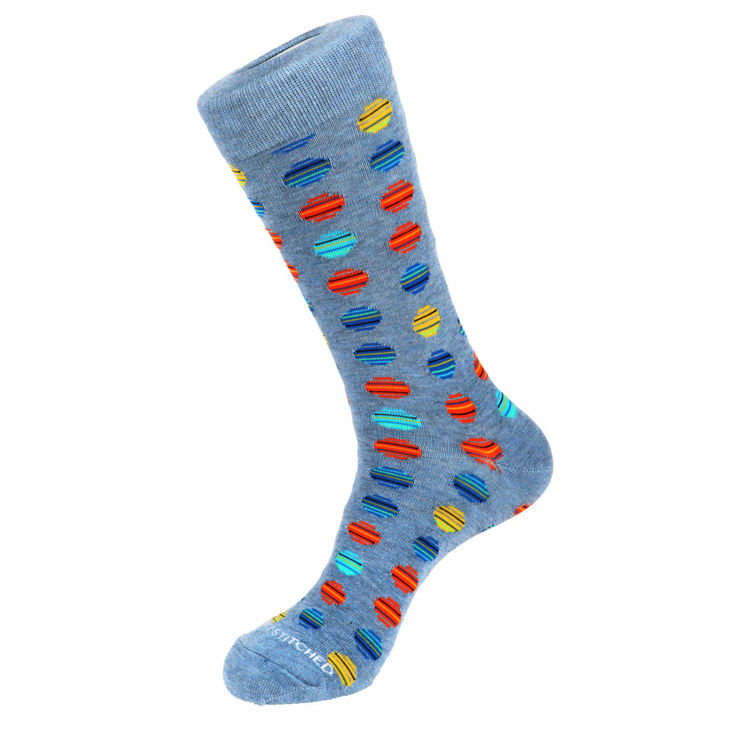 Unsimply Stitched Parrot Socks Striped Polka Dot Leather Heather Blue UNST-10080-2