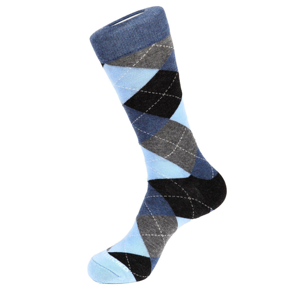 Unsimply Stitched Traditional Argyle Socks Grey Blue Multi UNST-10121-4