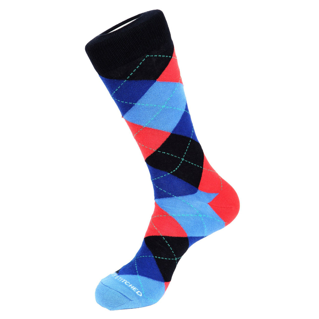 Unsimply Stitched Traditional Argyle Socks Blue Corel UNST-10121-2