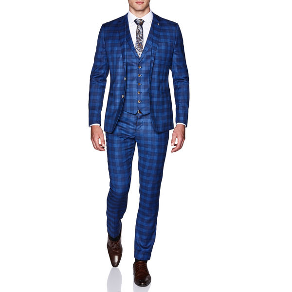Politix 2pce Suit UZ04 Blue Check