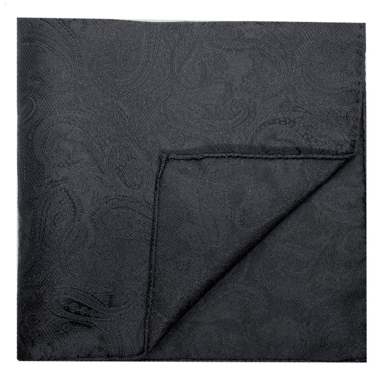 Dormeuil Black Paisley Pocket Square - Ignition For Men