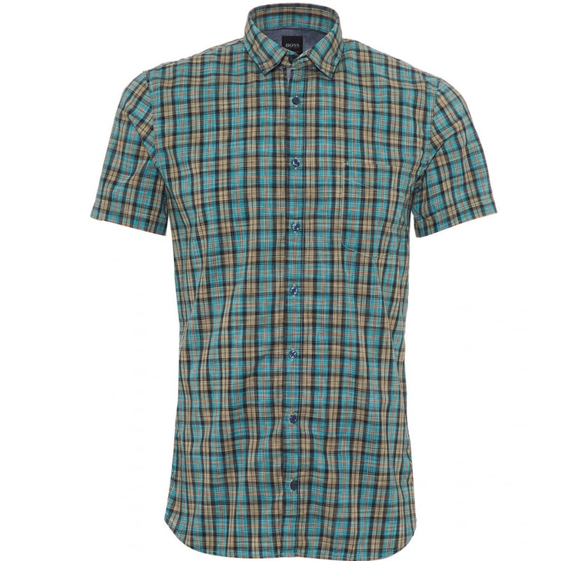 Hugo Boss Orange Cattitude Short Sleeve Shirt 50381919 Turquoise / Aqua