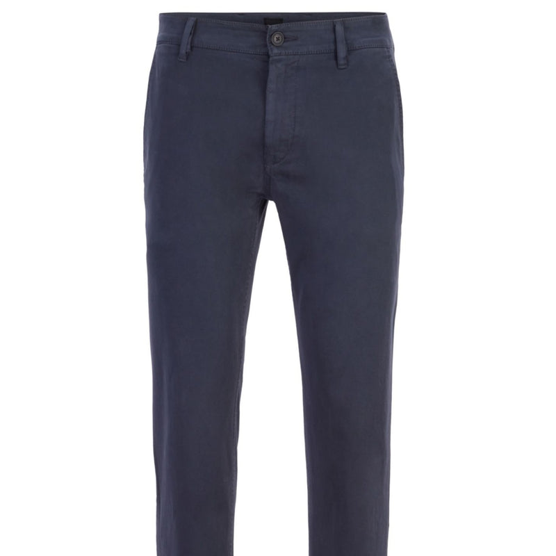 Slim-fit casual chinos in brushed stretch cotton Dark Blue 50379152 10195867 01 404