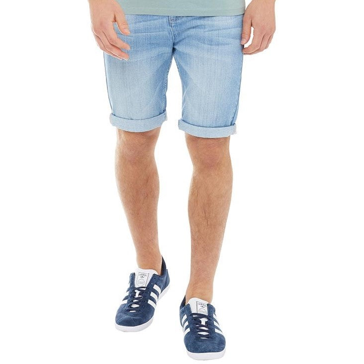 Crosshatch Treyforth Light Blue Denim Shorts