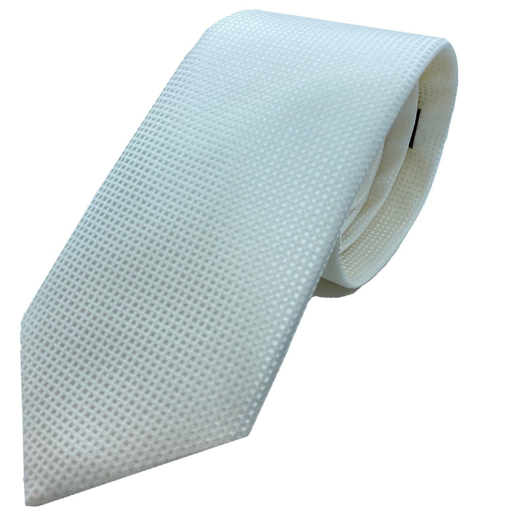 Dormeuil Ivory Self Pattern Tie - Ignition For Men