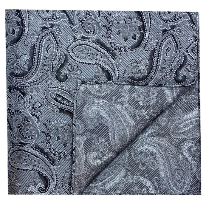 Dormeuil Silver Paisley Pocket Square - Ignition For Men