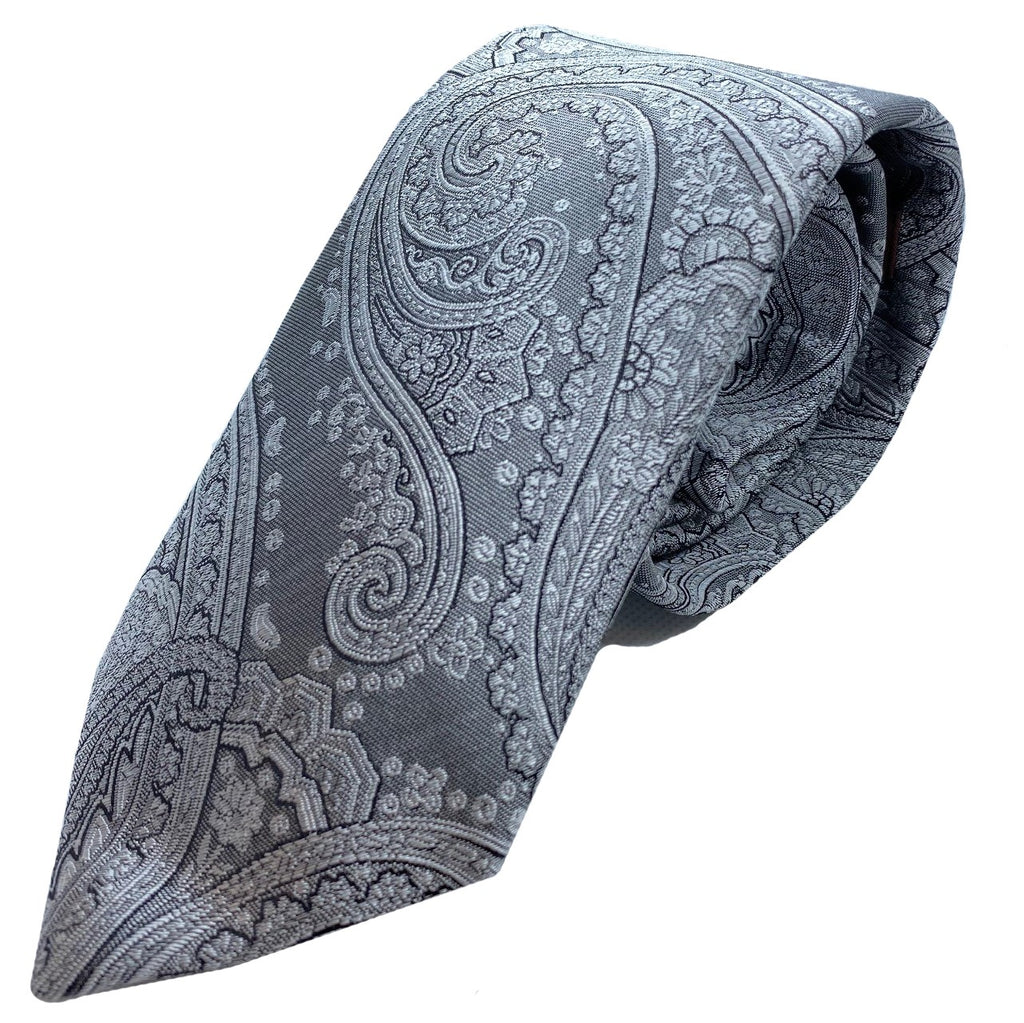 Dormeuil Charcoal Paisley Tie - Ignition For Men