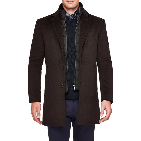 Politix Penfold Overcoat WC19W Burgundy / Black